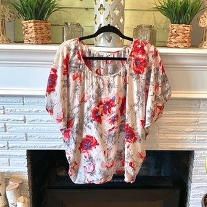 CAbi The Gypsy Red Floral Silk Dolman Blouse #399